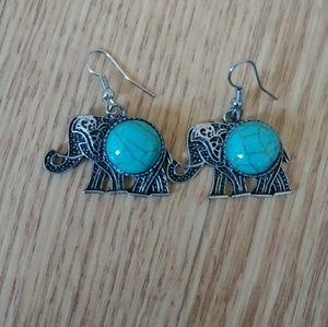 Turquoise Elephant Earrings